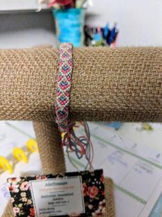 white w/blue, pink and peach diamond pattern friendship bracelet by JolieTreasure on Etsy