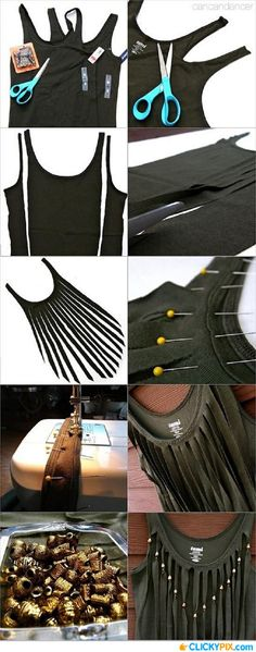 DIY T-shirt with Fringes - 20 Simple DIY Clothes Refashion Tutorials for Spring | GleamItUp