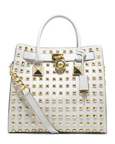 bought this in Grey for my daughter - she doesn't like it :) I get to keep it - Love it to death-MICHAEL Michael Kors Studded Hamilton Tote Bag Mk Handbags, Handbags Michael Kors, Designer Handbags, Designer Bags, Replica Handbags, Burberry Handbags, Luxury Designer, Michael Kors Hamilton, Coach Purses