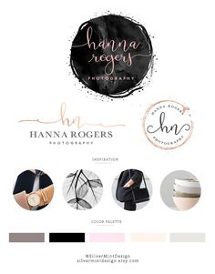 Watercolor Logo Design, Rose gold Branding kit, Photography logo, Watermark, Premade Branding Package, Custom Logo Design, Branding kit