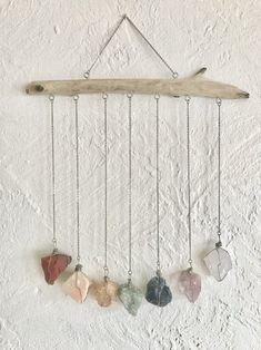 Hanging Crystals, Diy Crystals, Chakra Crystals, Crystals And Gemstones, Stones And Crystals, Chakra Stones, Wire Wrapping Crystals, Crystal Room Decor, Crystal Wall