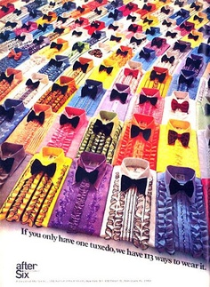 tux shirts of the seventies...lots of ruffles & colors. My high school sweetheart wore white tux w/purple ruffled shirt and purple boutonnaiere...sooo handsome <3