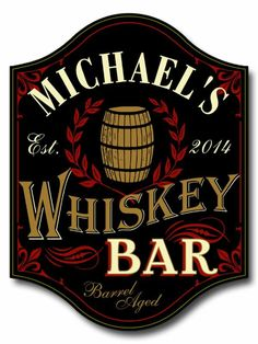 "Our Personalized Wooden ""Barrel Anged"" Whiskey Bar Sign will look great in your living room, den or home bar. It features the image of a whiskey cask Whiskey Room, Aged Whiskey, Wine Signs, Pub Signs, Restaurant Signs, Custom Bar Signs, Personalized Wooden Signs, Whisky Bar, Man Cave Home Bar"