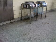 For these public trash cans they don't mind if you see the garbage in the bags.