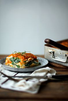 """butternut squash and spinach lasagna with celeriac """"noodles"""" and white bean bechamel sauce...dairy free and grain free, vegan {My New Roots}"""