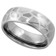 Domed Etched Abstract Pattern Ring