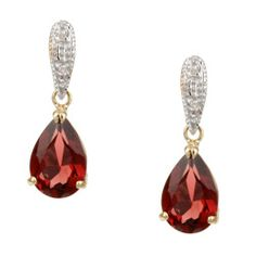 Earrings dazzle with garnet teardrops dangling from a diamond-dotted bar  Jewelry is crafted of lustrous 14-karat yellow gold  Elegant garnet earrings will add a touch of classy sparkle to any ensemblehttp://www.overstock.com/Jewelry-Watches/14k-Yellow-Gold-Garnet-and-1-10ct-TDW-Diamond-Earrings/4342636/product.html?CID=214117 $104.99