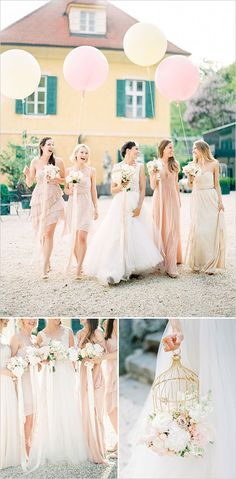 peach and pink bridesmaids dresses