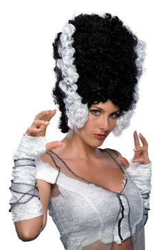 Bride Of Frankenstein Women's Adult Size Monster Bride Costume Wig Bride Costume, Costume Wigs, Costume Shop, Bride Of Frankenstein Wig, Black And White Wig, Frankenstein's Monster, Thing 1, Wigs Online, Costume Collection