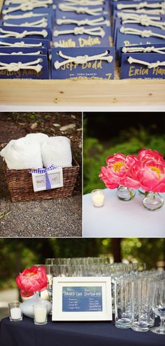 Coral, white, and navy. Perfect for a summer wedding by the water.