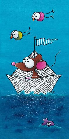 Mouse In His Paper Boat Painting by Lucia Stewart - Mouse In His Paper Boat Fine Art Prints and Posters for Sale Boat Painting, Acrylic Painting Canvas, Painting & Drawing, Canvas Art, Art Fantaisiste, Art Mignon, Arte Popular, Whimsical Art, Rock Art