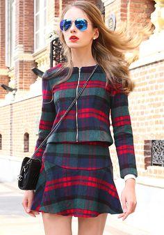 Shop Green Long Sleeve Plaid Woolen Top With Skirt online. Sheinside offers Green Long Sleeve Plaid Woolen Top With Skirt & more to fit your fashionable needs. Free Shipping Worldwide!
