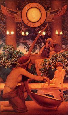 Maxfield Parrish, Edison Mazda Lamp Works Calendar featuring Dawn, Lithographic reproduction of original oil painting, pr. Sphinx, Maxfield Parrish, Wow Art, American Artists, Art History, Illustrators, Illustration Art, Fine Art, Wallpaper