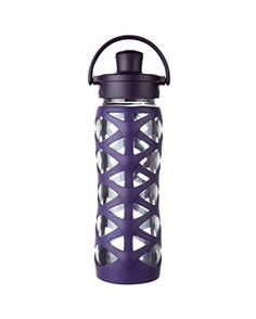 Lifefactory BPAFree Glass Water Bottle with Active Flip Cap  Silicone Sleeve 22 oz Aubergine -- More info could be found at the image url.Note:It is affiliate link to Amazon.