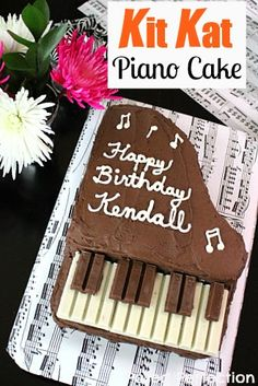 Kit Kat Piano Cake by Posed Perfection ~ An easy cake tutorial to celebrate Music-themed parties and recitals.