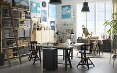 kijiji gray not furniture rug rattan armchair aged in design wooden table rectangular … - Home Page Loft Studio, Garage Art Studio, Art Studio At Home, Dream Studio, Workshop Studio, Hobby Design, Creative Office, Creative Studio, Office Inspiration