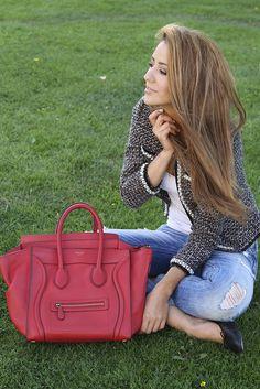 Celine luggage tote in lipstick
