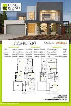 Long Island Homes 2018 Floor Plan of the Como 530 Display as featured at Woodlea estate in Rockbank, Victoria Australia Two Story House Design, Modern Small House Design, Modern Villa Design, Duplex House Design, House Layout Plans, Dream House Plans, House Layouts, Home Builders Melbourne, New Home Builders
