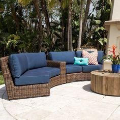 Del Sur 3 Piece Curve Sectional Outdoor Wicker Patio Furniture, Outdoor Sofa Sets, Deck Furniture, Outdoor Lounge, Outdoor Seating, Outdoor Spaces, Outdoor Living, Outdoor Decor, Cane Furniture