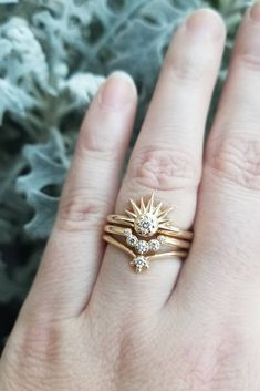 Citrine Copper Ring Three Ring Set Stacking Set Electroformed Five Stone Ring Multi Stone Citrine Ring Pattern Band