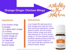 Vitality in the Kitchen card featuring Young Living's orange and ginger vitality essential oils and a recipe for Orange Ginger Chicken Wings utilizing the Instant Pot!