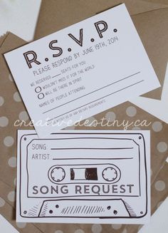 LOVE this idea for a wedding invitation card. Add a Song Request card to send back with your RSVP then the music playlist will be what everyone wants to listen to! See how to write good wedding invitation: http://tips-wedding.com/wedding-invitation-wording/