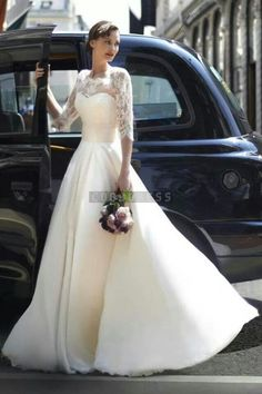 Half Sleeves chiffon A-line Jewel Sash Wedding Dress