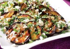 Eggplant with Garlic-Cumin Vinaigrette, Feta & Herbs Grilled Eggplant with Garlic-Cumin Vinaigrette, Feta and Herbs - This.Grilled Eggplant with Garlic-Cumin Vinaigrette, Feta and Herbs - This. Vegetable Dishes, Vegetable Recipes, Vegetarian Recipes, Healthy Recipes, Grilled Recipes, Grilled Eggplant Recipes, Easy Recipes, Grilled Food, Grilled Salmon