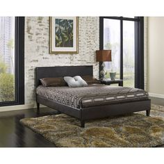 Sleep Sync Beaumont Upholstered Brown Leather Complete Platform Bed | Overstock.com Shopping - Great Deals on Sleep Sync Beds