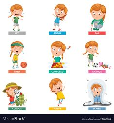 Of emotions Royalty Free Vector Image - VectorStock Teaching Emotions, Feelings And Emotions, Abc For Kids, 4 Kids, Emotion Words, Vector Free, Free Vector Images, Flat Illustration, Happy Kids