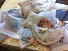 old doilies and handkerchiefs made into lavender sachets