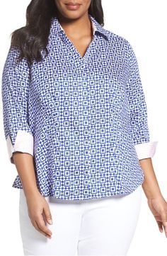 Main Image - Foxcroft Taylor Pool Tiles Wrinkle-Free Shirt (Plus Size)