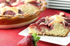 Strawberry Summer Cake by newfinmysoup. Recipe by Martha Stewart #Strawberry_Cake #Martha_Steart #newfinmysoup