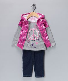 Purple & Pink Peace Sign Pants Set - Infant & Girls