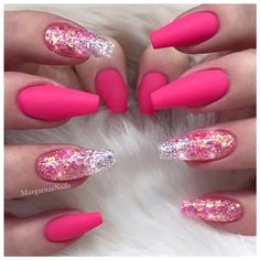 Pink Matte Glitter Coffin Nails by MargaritasNailz from Nail Art Gallery