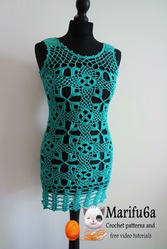 How to crochet tunic dress pattern free tutorial all sizes by marifu6a