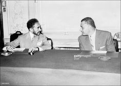 Picture dated from the 50s of Ethiopian Emperor Haile Sellassie I (L) during a meeting with Egyptian President Gamal Abdel Nasser in Cairo. After having led the revolution in 1916 against Lij Yasu he became regent and heir to the throne, westernizing the institution of his country. Settled in England after the Italian conquest of Abyssinia, he was restored in 1941 after the British liberation. In the early 1960s he helped to establish the Organization of African Unity. The disastrous famine…