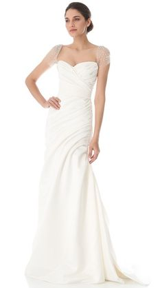 Ivory sation wedding gown with cap sleeves - Reem Acra Always & Forever Gown