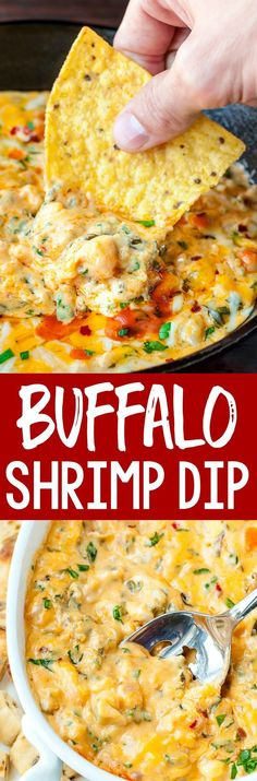 Buffalo Shrimp Dip Makes The Perfect Appetizer Hot Melty Cheese With Shrimp, Veggies, And A Kiss Of Hot Sauce? Flawlessness This Easy Cheesy Dip Is Perfect For Parties Or Potlucks And The Leftovers Make An Amazing Seafood Quesadilla Love It So Seafood Appetizers, Yummy Appetizers, Appetizers For Party, Seafood Recipes, Appetizer Recipes, Party Dips, Dinner Recipes, Dip Recipes, Cooking Recipes