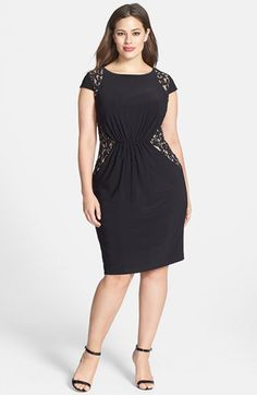 Adrianna Papell Lace Inset Matte Jersey Dress (Plus Size)