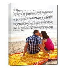 Gift for your BF or GF - canvas with love letter or lyrics Geezees.com #gift #wedding #anniversary