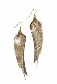 Metallic leather earrings are so pretty and affordable, plus they give back to the women in India who made them, through literacy programs.