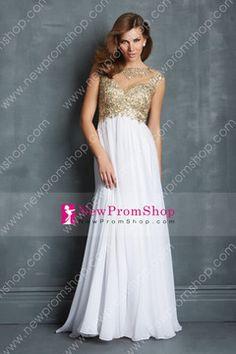 2014 bicolor Scoop Neckline Prom Dresses a-line Chiffon with applique
