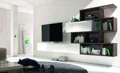 Modern TV unit modular storage with large bookcase