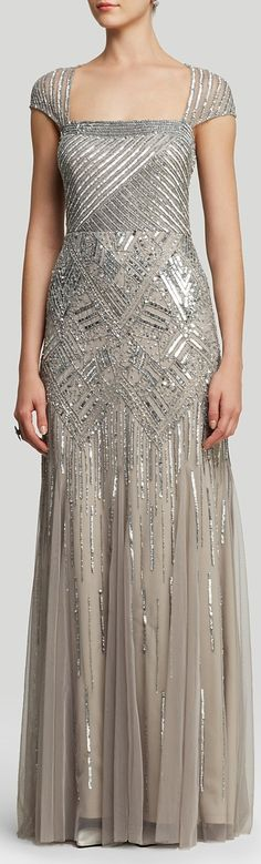 Adrianna Papell Gown - Cap Sleeve Open Back Beaded Godet