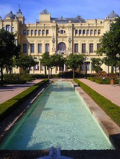 Pool in front of City Hall Malaga, Spain #FriFotos