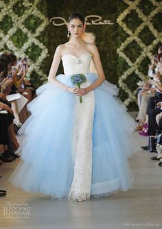 blue and white wedding dress by Oscar de la renta