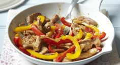 """298 calories This is one of my favourite go-to recipes when I've not got much time but want a filling and satisfying """"proper"""" meal. Serves 2 • Ready in 15 minutes 1 × 175g (6oz) lean pork fillet (t..."""