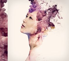 Ayaka EP by Alberto Seveso  Really like the work of Alberto Seveso, and his high-speed photographs of ink mixing with water. I love how his mix that with portrait pictures for the Ayaka EP covers..  via www.mr-cup.com