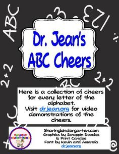 This was made with permission and help from Dr Jean.This unit contains-26 Large ABC Cheer cards-1 Chart for large or small printing-26 sm...